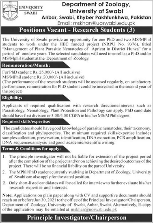 University of Swabi KPK Jobs 2021