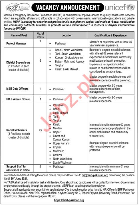 MERF KP UNICEF Funded Projects Jobs 2021