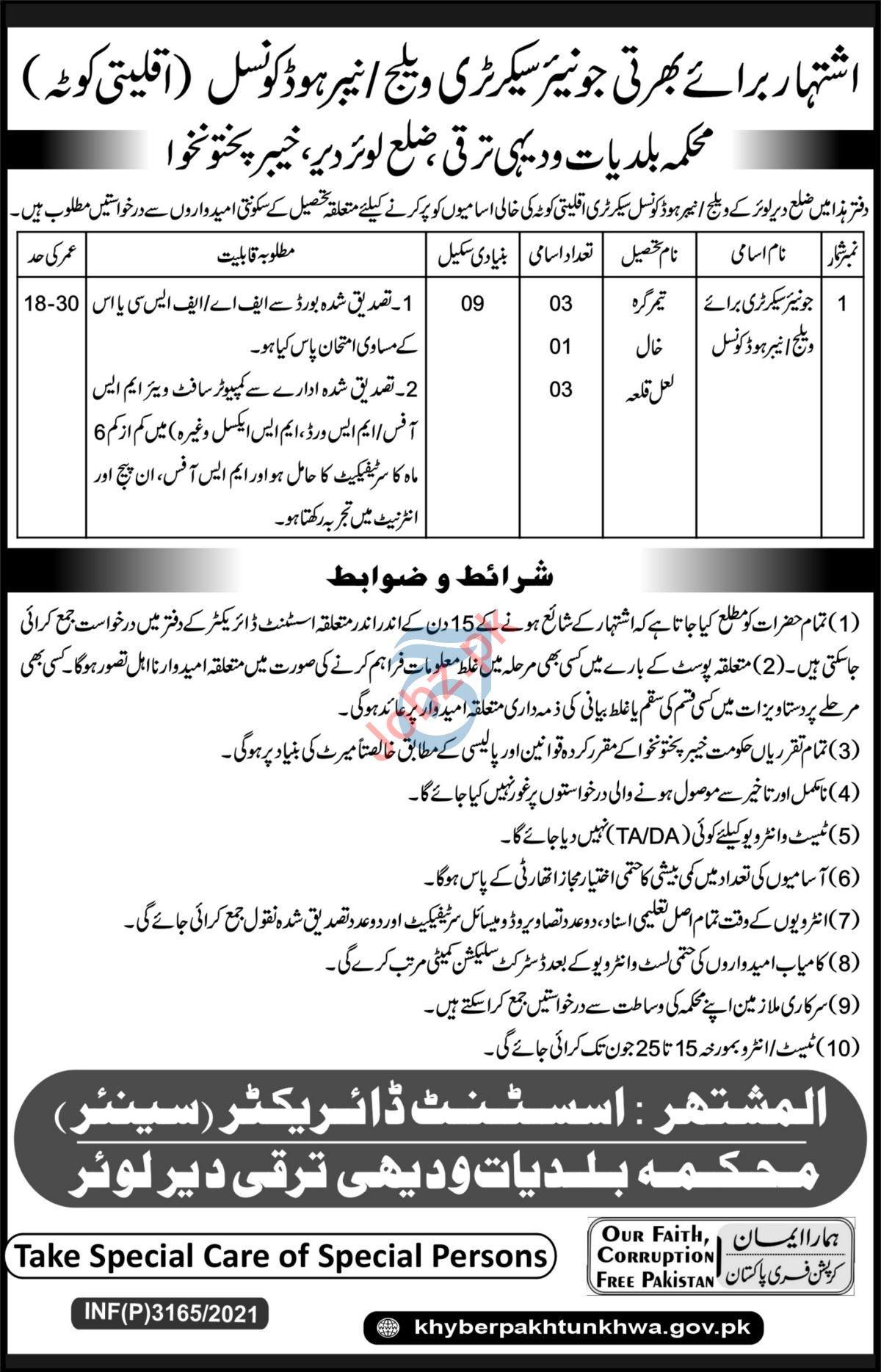 Village Council Secretary Jobs in Lower Dir KPK