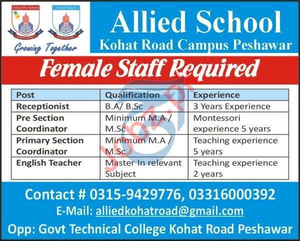Allied School Kohat road Campus Peshawar Jobs 2021