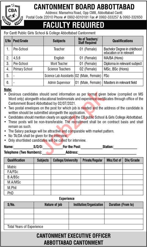 FG Cantt Public Girls School & College Abbottabad Cantt Jobs