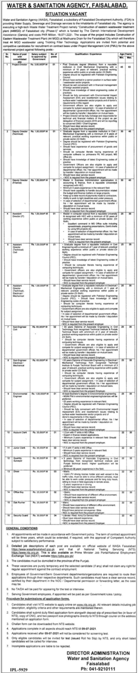 WASA Water & Sanitation Agency Faisalabad NTS Jobs 2021