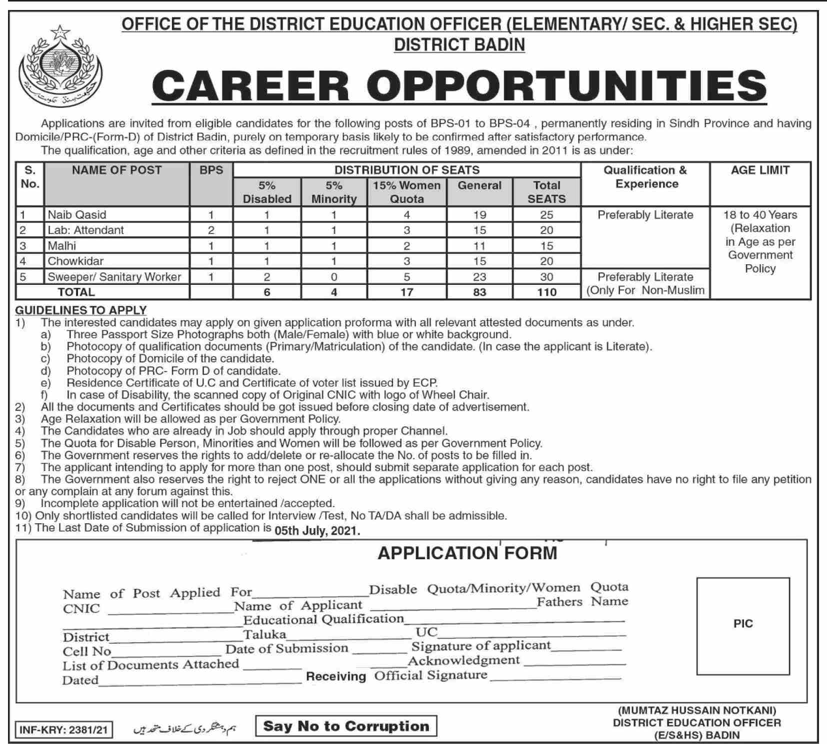 District Education Office Badin Sindh Jobs 2021