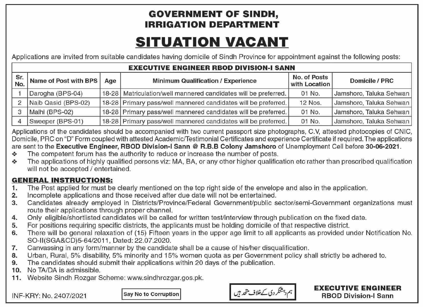 RBOD Division I SANN Irrigation Department Sindh Jobs 2021