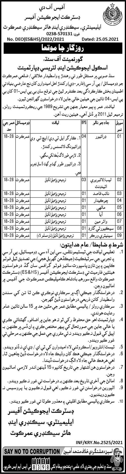 Elementary Educarion Office Umerkot Sindh Jobs 2021