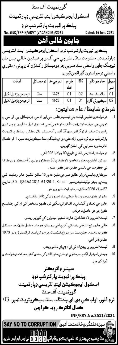 SE&LD Public Private Partnership Sindh Jobs 2021