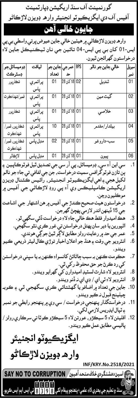 Executive Engineer Wara Division Larkana Jobs 2021