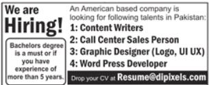 IT Staff Jobs in Americal Based Company
