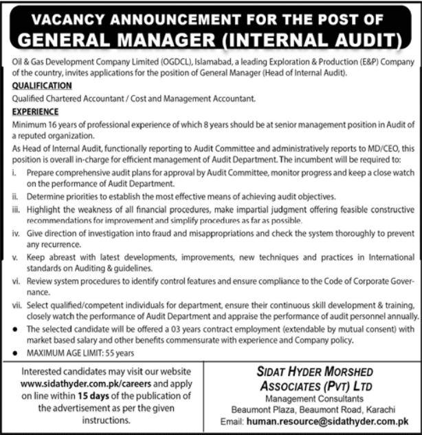 General Manager Internal Audit Jobs in Oil & Gas Development