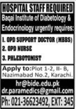 Baqai Institute of Diabetology Medical Staff Jobs 2021
