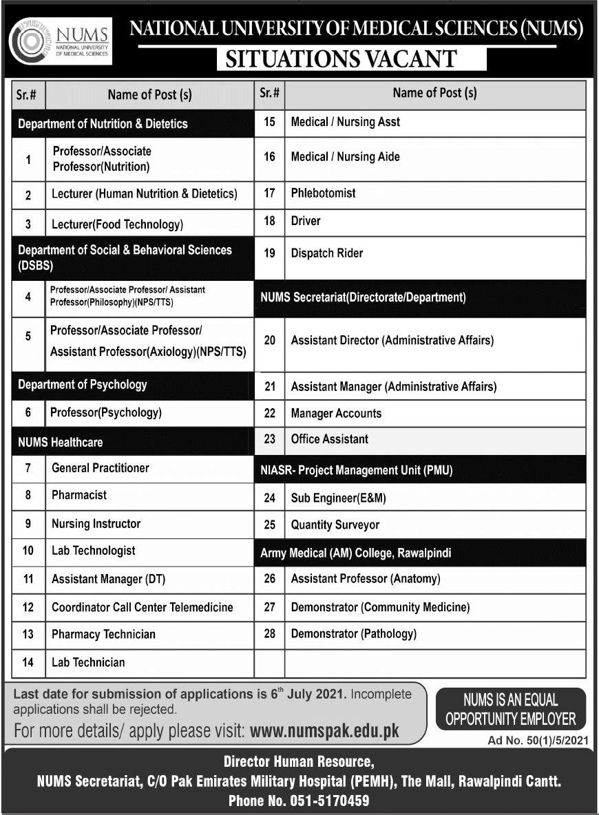 NUMS Rawalpindi Jobs 2021