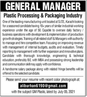 General Manager Jobs in Plastic Processing & Packaging