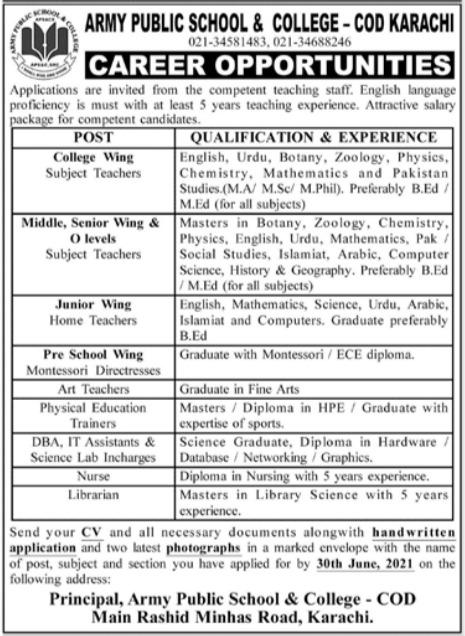 Army Public School & College Teaching Staff Jobs 2021