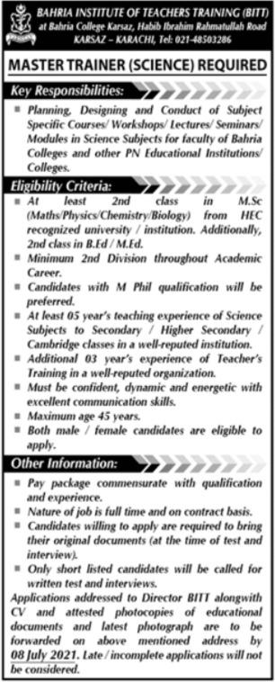Bahria Institute of Teachers Training BITT Jobs 2021