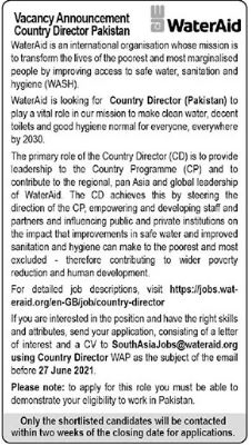 WaterAid Pakitan Jobs 2021 for Country Director