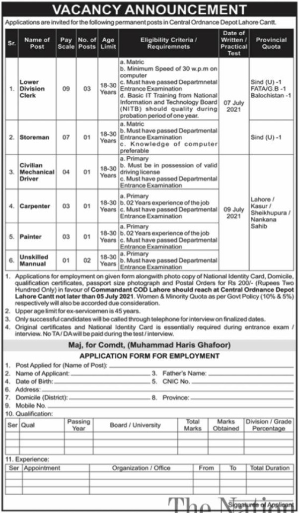 Central Ordinance Depot Lahore Jobs 2021