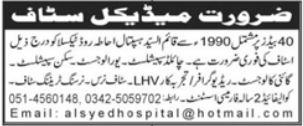 Al Syed Hospital Taxila Jobs 2021