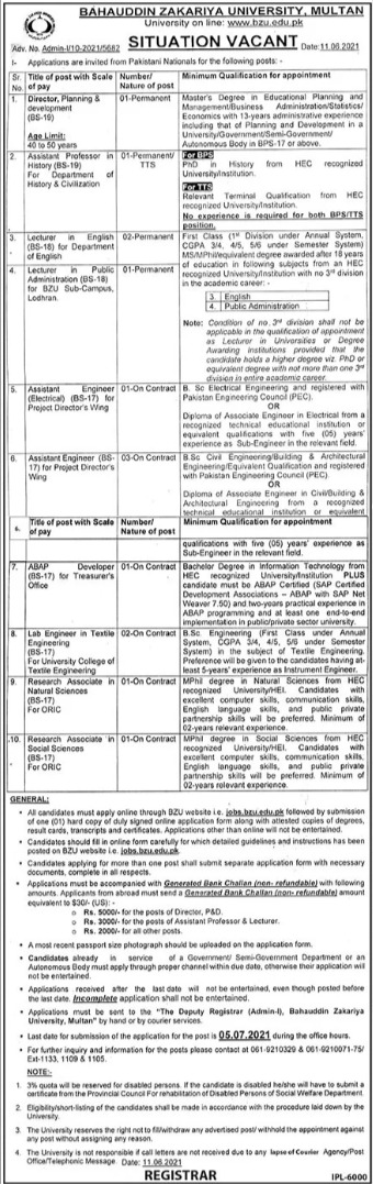 Bahauddin Zakariya University BZU Jobs 2021