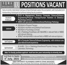 Iqra University IU Jobs 2021 in Islamabad