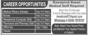 Medical Staff Jobs iN Rawalpindi