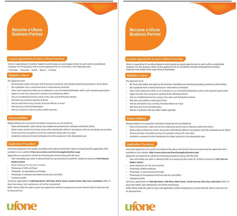 Ufone Company Jobs 2021 for Distributor