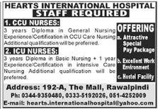 Hearts International Hospital Jobs 2021