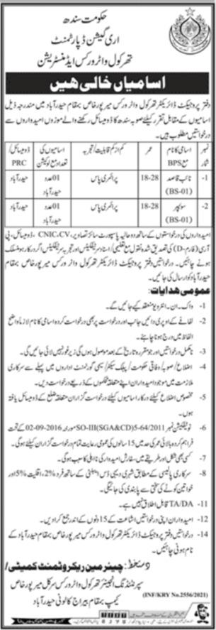 Irrigation Department Naib Qasid & Sweeper Jobs 2021