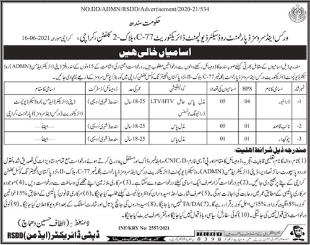 Works & Services Department Non Technical Staff Jobs 2021