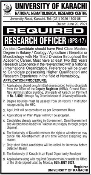 Research Officer Jobs in University of Karachi UoK