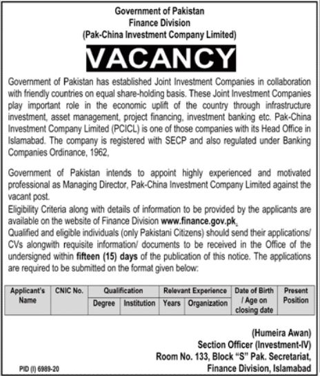 Finance Division Managing Director Jobs 2021