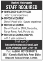 Hashmi Motorsport Company Jobs 2021