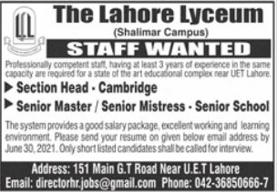 The Lahore Lyceum Jobs 2021