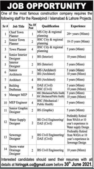Construction Company Jobs 2021