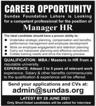 Sundas Foundation Lahore Jobs 2021 for Manager HR