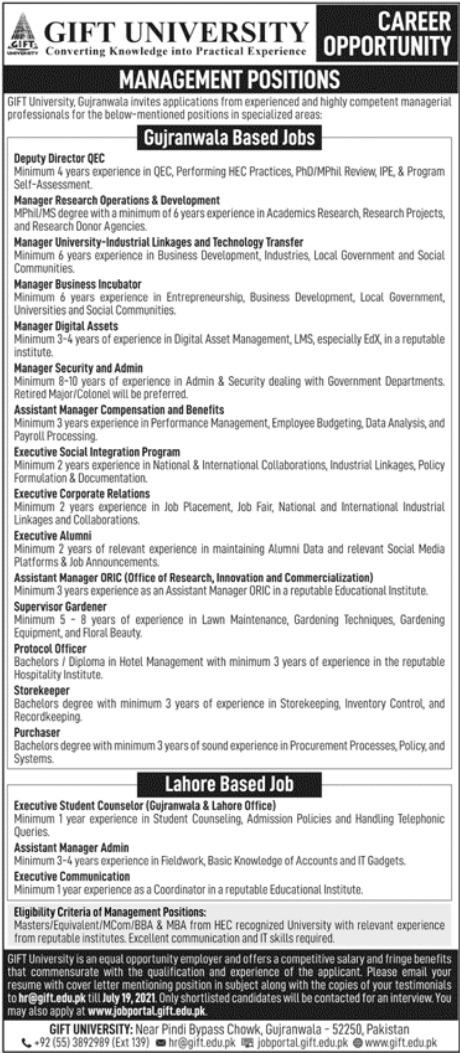Gift University Jobs 2021 in Gujranwala