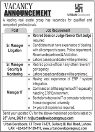 Urban Developers Group Jobs 2021 in Lahore