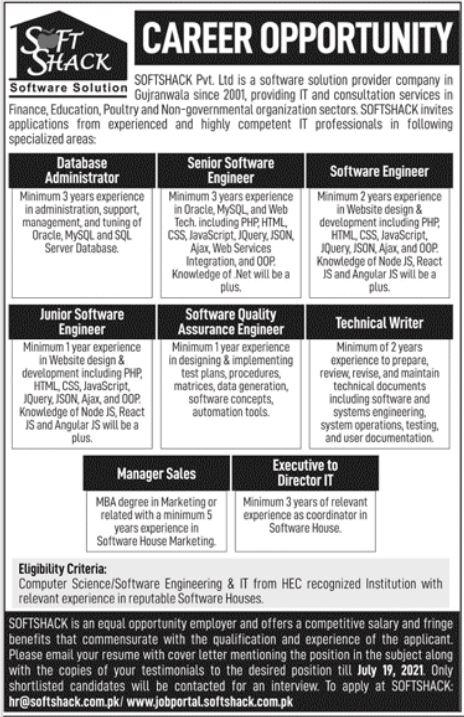 Soft Shack Software Company Jobs 2021