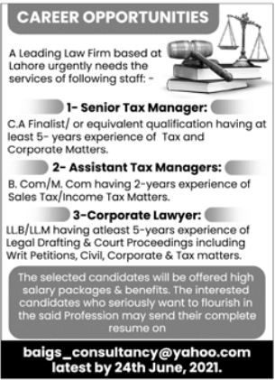 Law Firm Jobs 2021 in Lahore