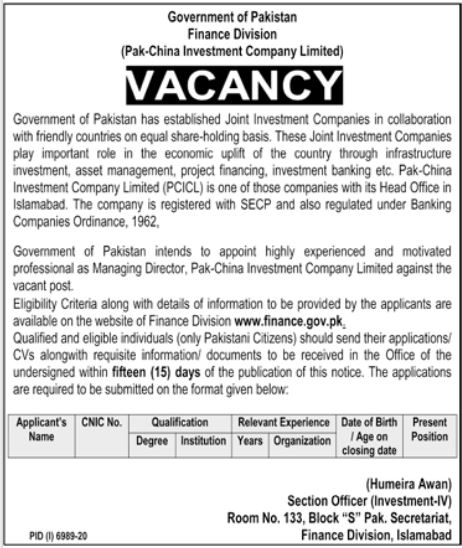 Finance Division Jobs 2021 for Managing Director