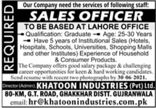 Khatoon Industries Private Limited Jobs 2021