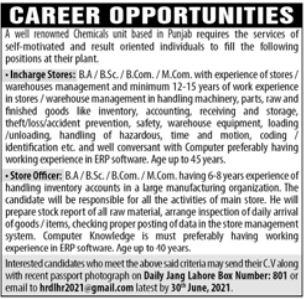 Chemical Company Jobs 2021 in Lahore