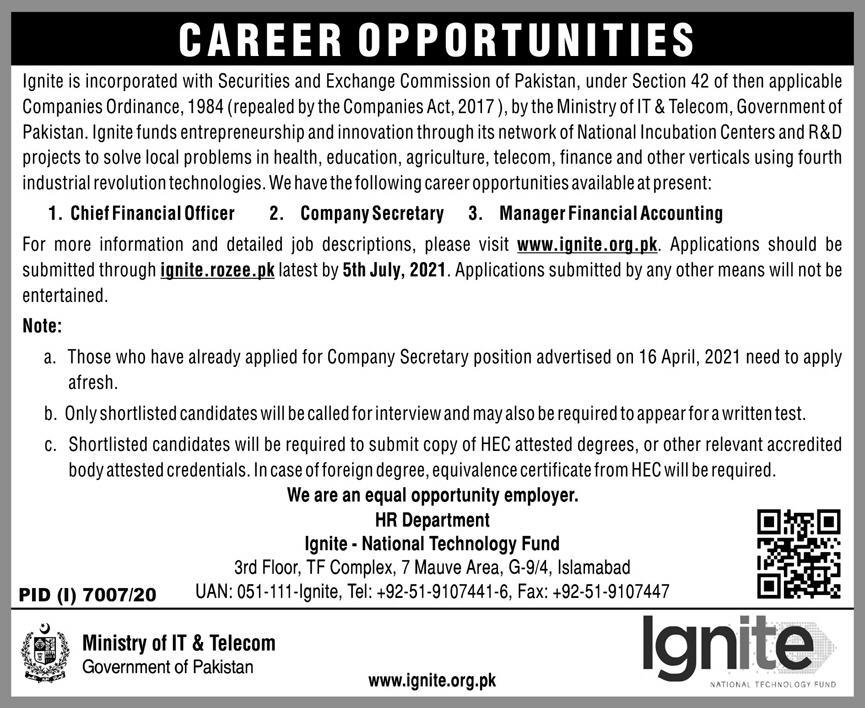 Ignite Nation Technology Fund Jobs 2021 in Islamabad