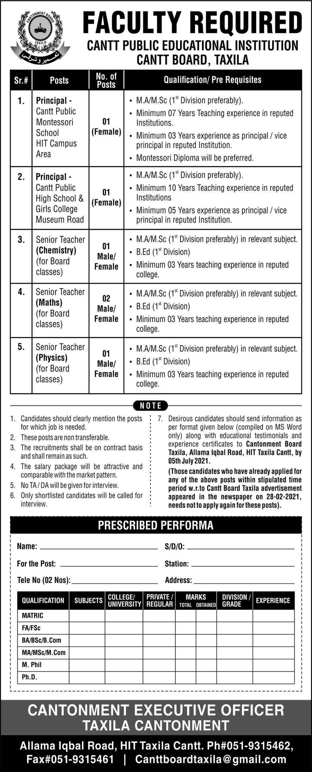 Cantt Public Educational Institution Faculty Jobs 2021