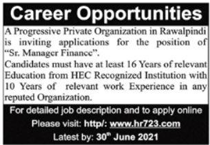 Manager Finance Jobs in Rawalpindi 2021