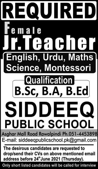Siddeeq Public School Jobs 2021 For Teaching Staff