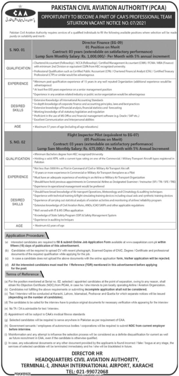 PCAA Pakistan Civil Aviation  Authority Karachi Jobs 2021