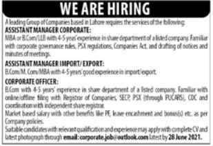 Assistant Manager Corporate Import Manager Jobs in Rwp