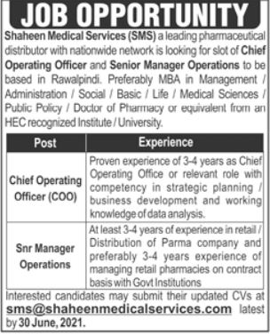 Shaheen Medical Services Rawalpindi Jobs 2021