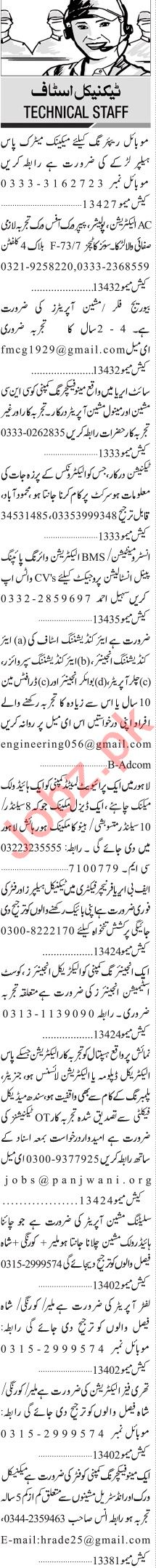 Jang Sunday Classified Ads 20 June 2021 for Technical Staff