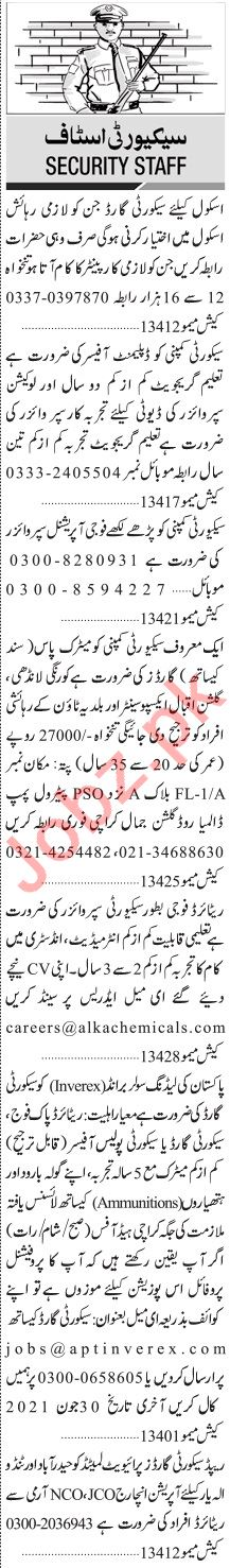 Jang Sunday Classified Ads 20 June 2021 for Security Staff